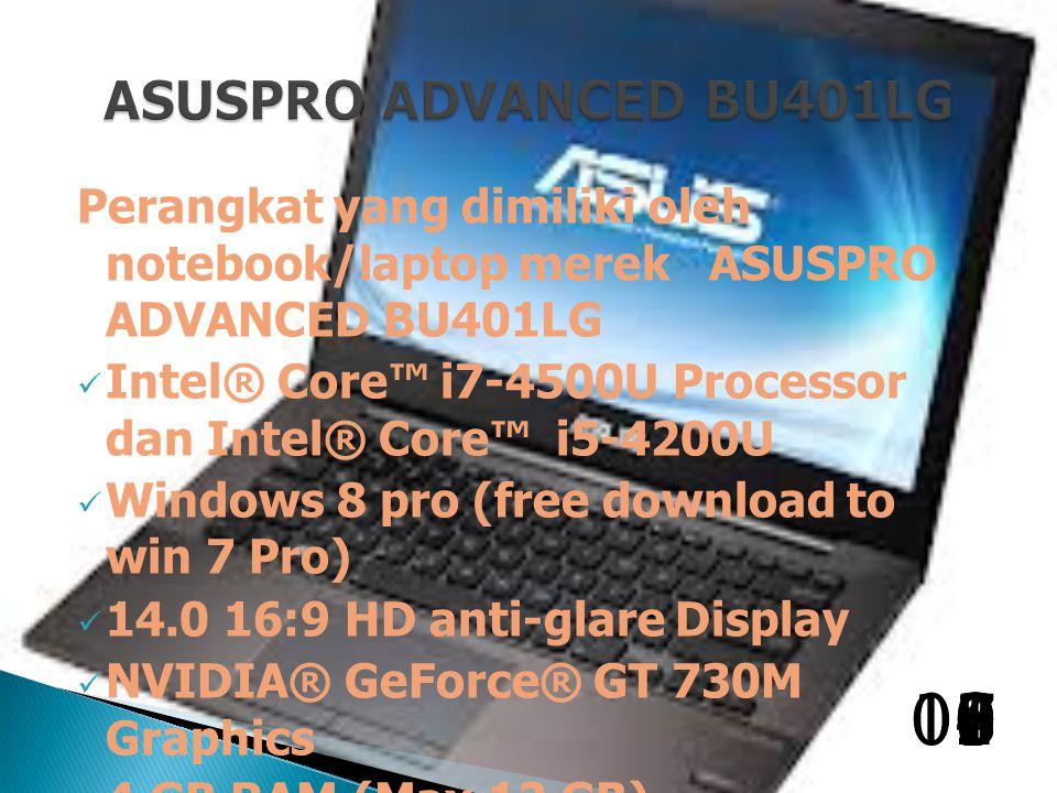 Perangkat yang dimiliki oleh notebook/laptop merek ASUSPRO ADVANCED BU401LG Intel® Core™ i7-4500U Processor dan Intel® Core™ i5-4200U Windows 8 pro (free download to win 7 Pro) 14.0 16:9 HD anti-glare Display NVIDIA® GeForce® GT 730M Graphics 4 GB RAM (Max.12 GB) 256B SSD/500GB HDD + c128GB SSD ) 1098765432100