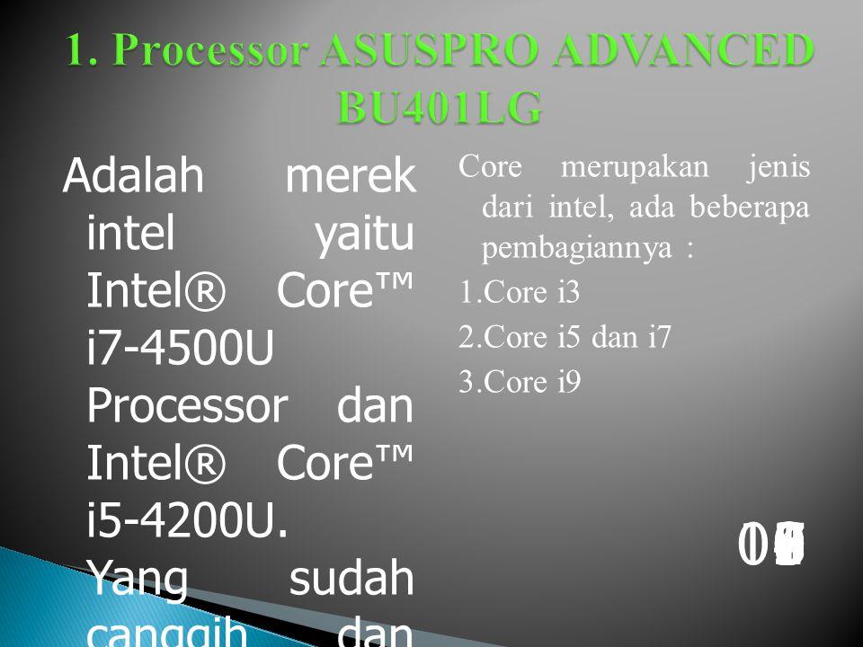 Adalah merek intel yaitu Intel® Core™ i7-4500U Processor dan Intel® Core™ i5-4200U.