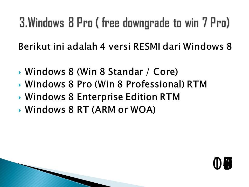 Berikut ini adalah 4 versi RESMI dari Windows 8  Windows 8 (Win 8 Standar / Core)  Windows 8 Pro (Win 8 Professional) RTM  Windows 8 Enterprise Edition RTM  Windows 8 RT (ARM or WOA) 1098765432100