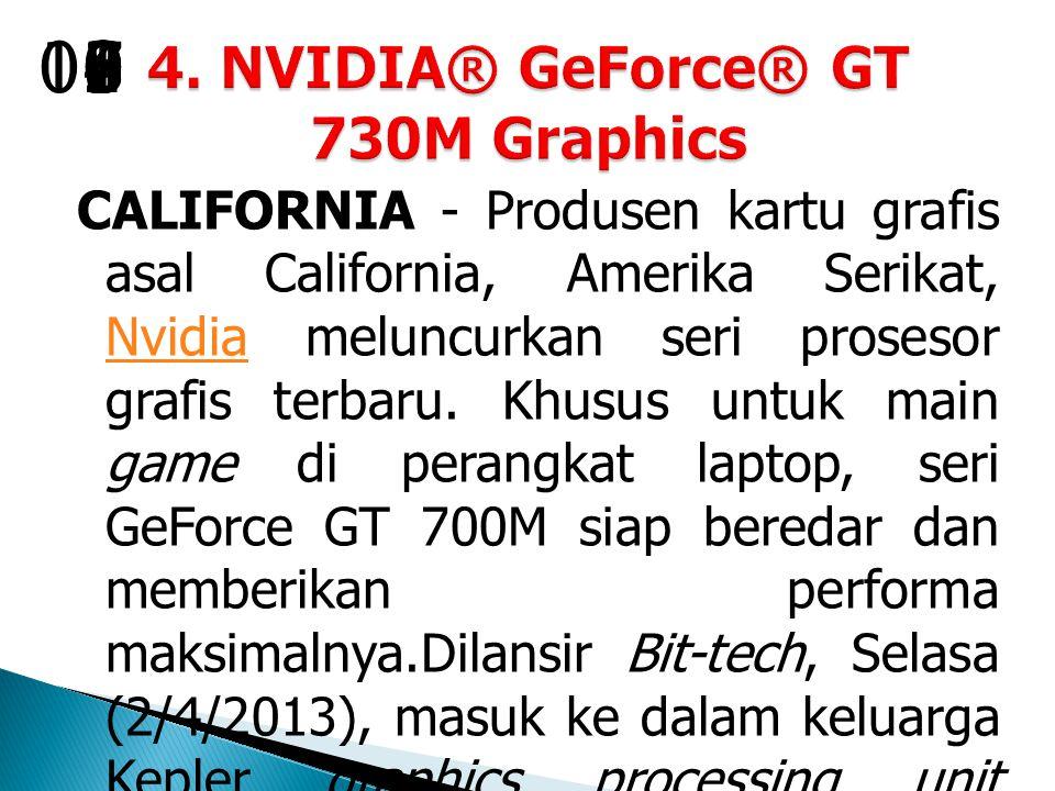 CALIFORNIA - Produsen kartu grafis asal California, Amerika Serikat, Nvidia meluncurkan seri prosesor grafis terbaru.