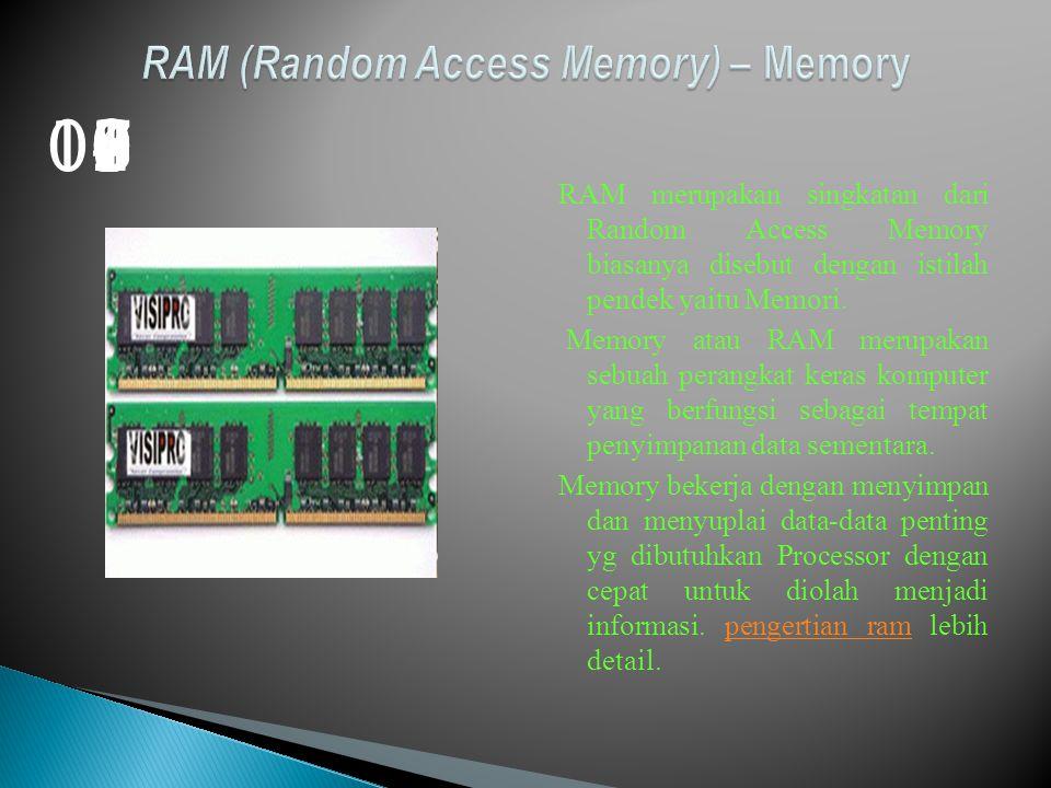 RAM merupakan singkatan dari Random Access Memory biasanya disebut dengan istilah pendek yaitu Memori.