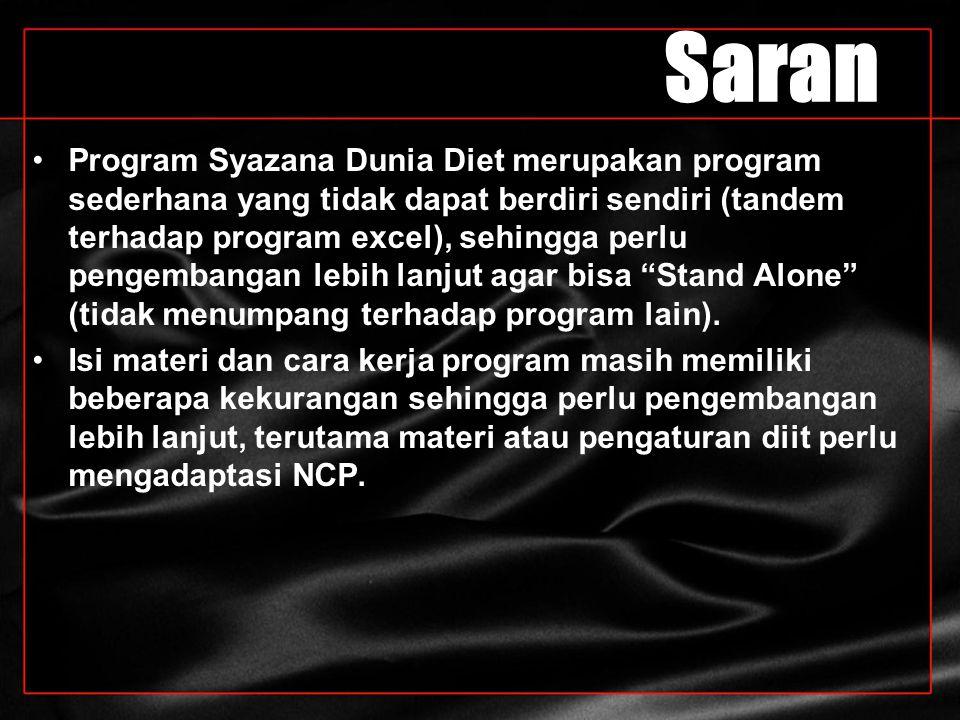 Saran Program Syazana Dunia Diet merupakan program sederhana yang tidak dapat berdiri sendiri (tandem terhadap program excel), sehingga perlu pengemba