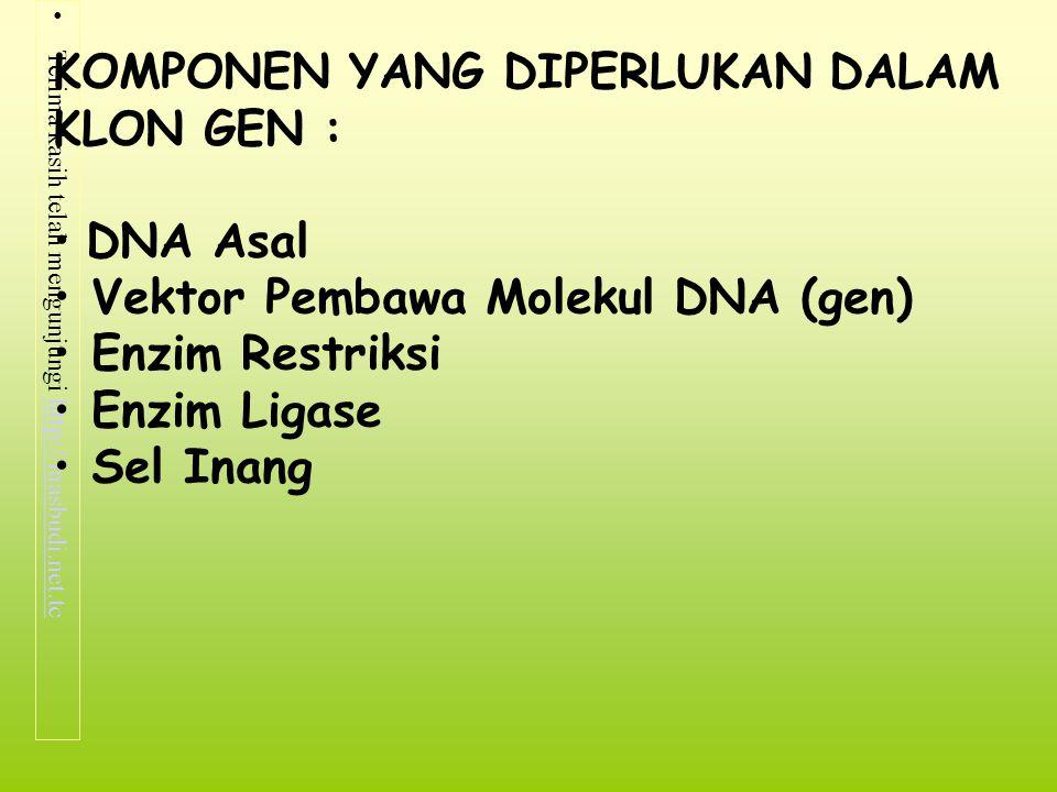 Terima kasih telah mengunjungi http://masbudi.net.tchttp://masbudi.net.tc KOMPONEN YANG DIPERLUKAN DALAM KLON GEN : DNA Asal Vektor Pembawa Molekul DN