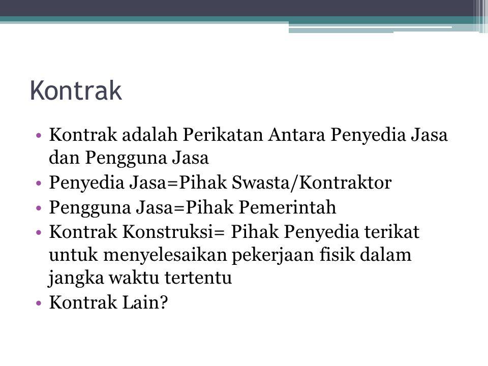 Kontrak Kontrak adalah Perikatan Antara Penyedia Jasa dan Pengguna Jasa Penyedia Jasa=Pihak Swasta/Kontraktor Pengguna Jasa=Pihak Pemerintah Kontrak K