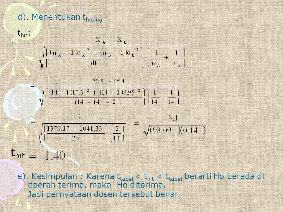 d). Menentukan t hitung t hit : e). Kesimpulan : Karena t tabel < t hit < t tabel berarti Ho berada di daerah terima, maka Ho diterima. Jadi pernyataa