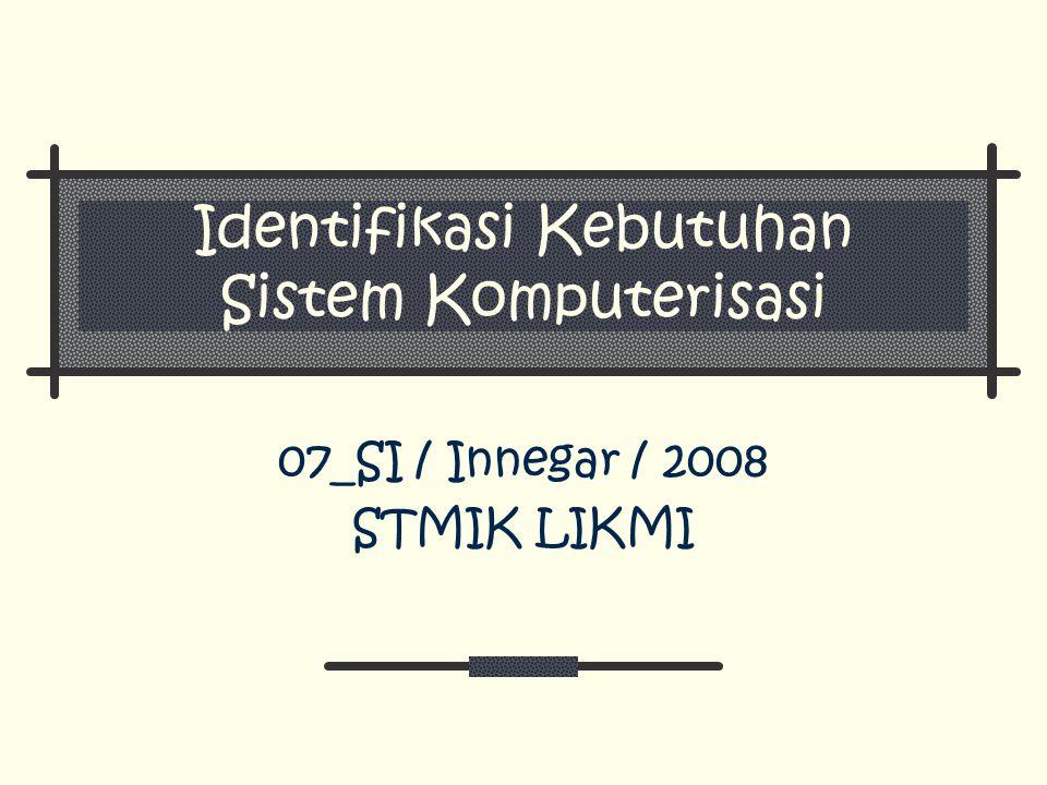Identifikasi Kebutuhan Sistem Komputerisasi 07_SI / Innegar / 2008 STMIK LIKMI