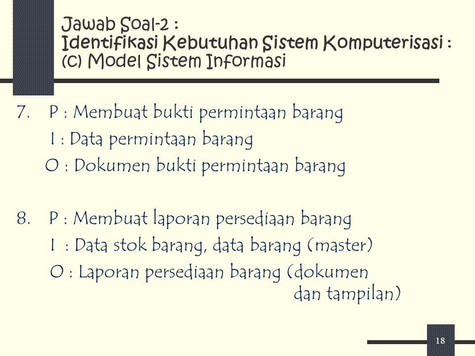 18 7.P : Membuat bukti permintaan barang I : Data permintaan barang O : Dokumen bukti permintaan barang 8.P : Membuat laporan persediaan barang I : Da