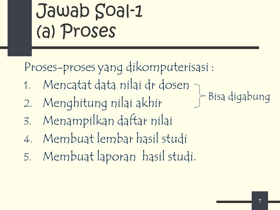 7 Jawab Soal-1 (a) Proses Proses-proses yang dikomputerisasi : 1. Mencatat data nilai dr dosen 2. Menghitung nilai akhir 3. Menampilkan daftar nilai 4