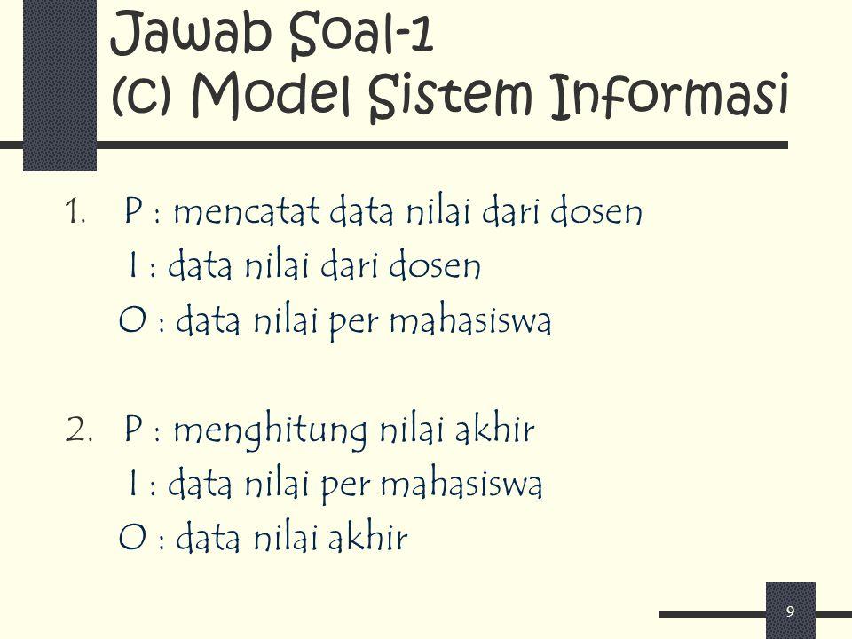 9 Jawab Soal-1 (c) Model Sistem Informasi 1. P : mencatat data nilai dari dosen I : data nilai dari dosen O : data nilai per mahasiswa 2. P : menghitu