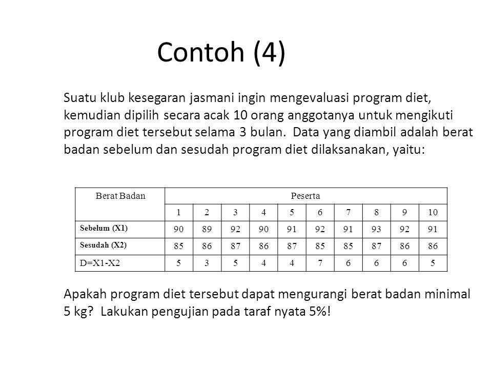 Contoh (4) Suatu klub kesegaran jasmani ingin mengevaluasi program diet, kemudian dipilih secara acak 10 orang anggotanya untuk mengikuti program diet