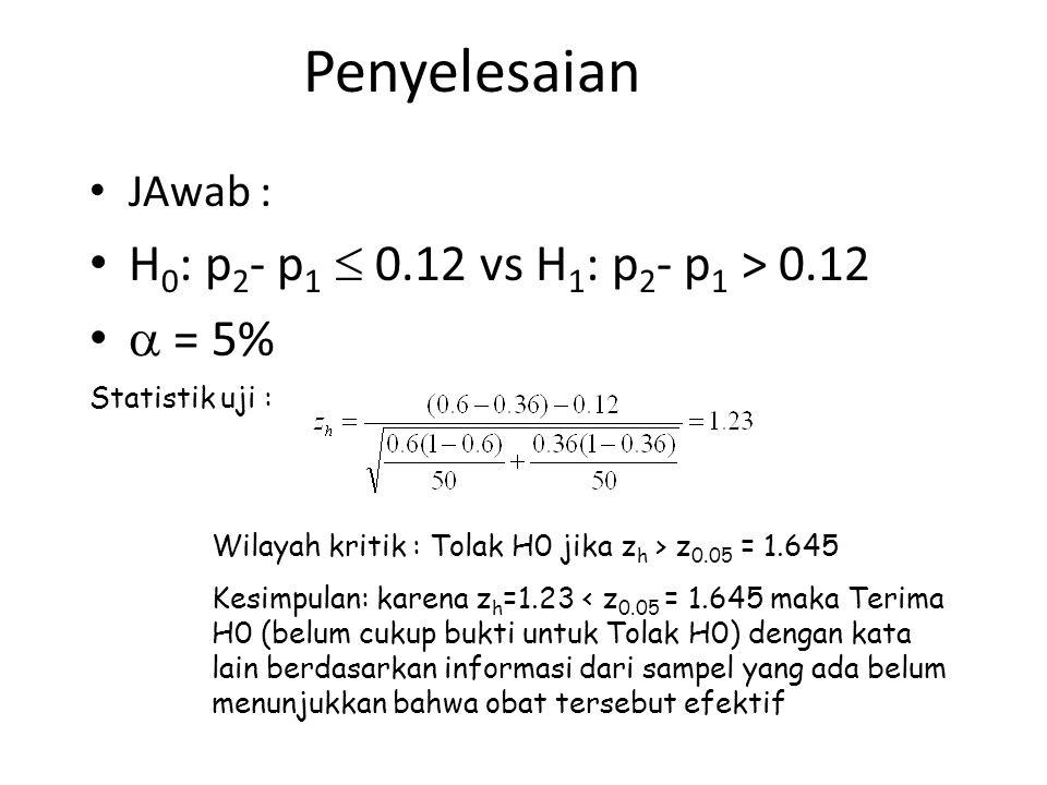 Penyelesaian JAwab : H 0 : p 2 - p 1  0.12 vs H 1 : p 2 - p 1 > 0.12  = 5% Statistik uji : Wilayah kritik : Tolak H0 jika z h > z 0.05 = 1.645 Kesim