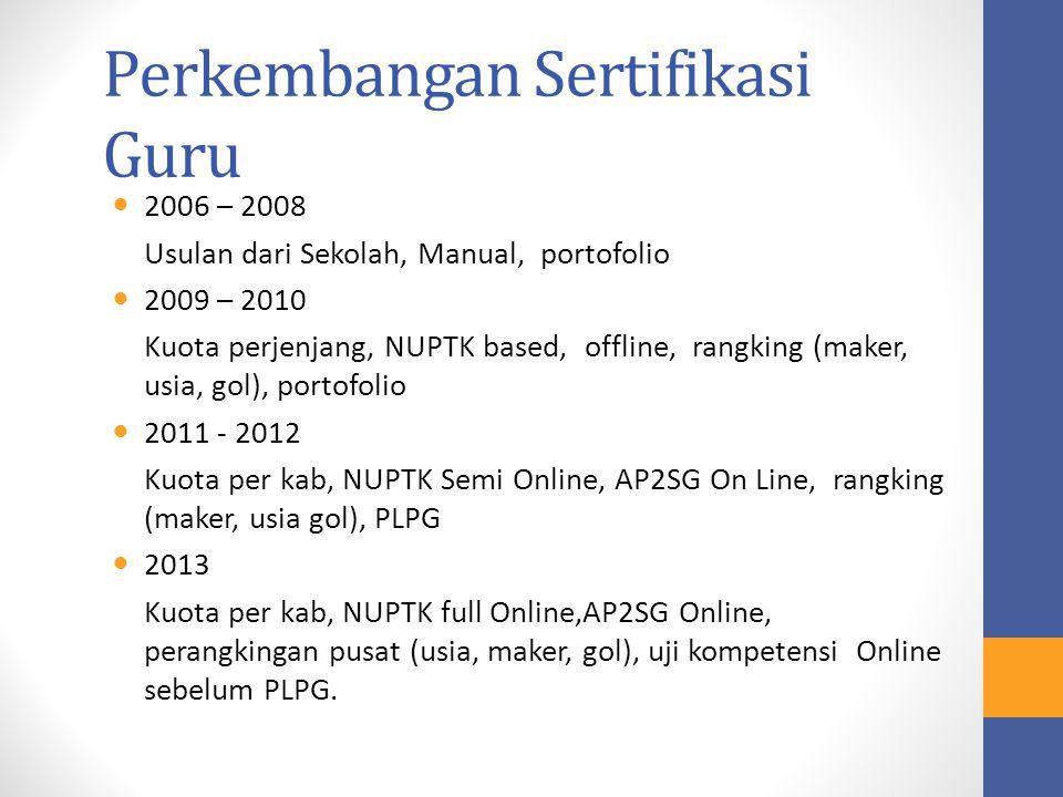 Perkembangan Sertifikasi Guru 2006 – 2008 Usulan dari Sekolah, Manual, portofolio 2009 – 2010 Kuota perjenjang, NUPTK based, offline, rangking (maker,