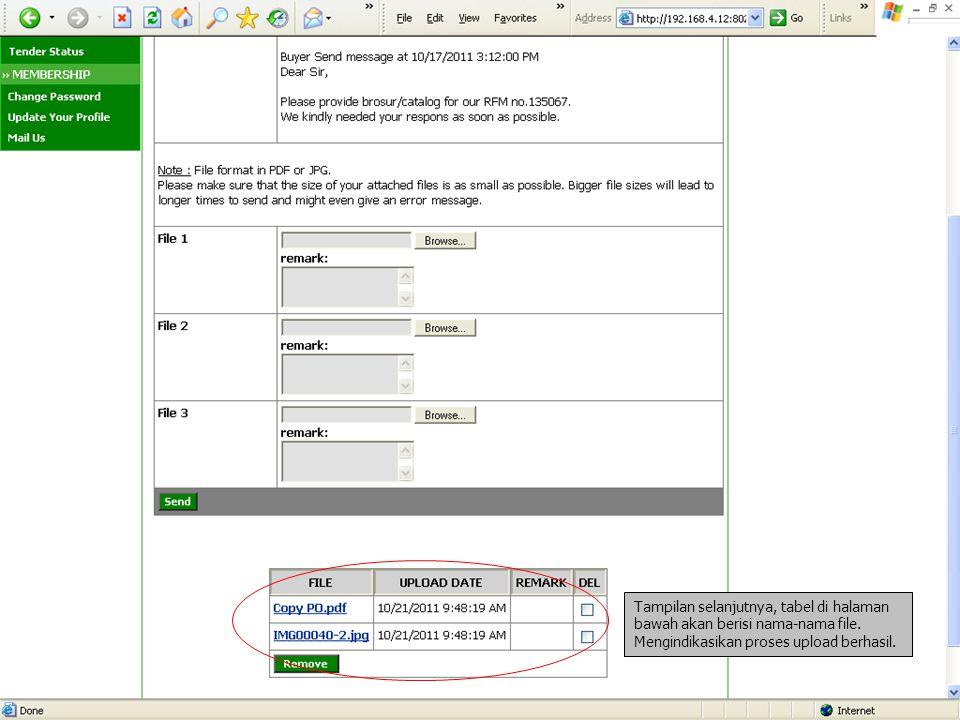 Tampilan selanjutnya, tabel di halaman bawah akan berisi nama-nama file. Mengindikasikan proses upload berhasil.