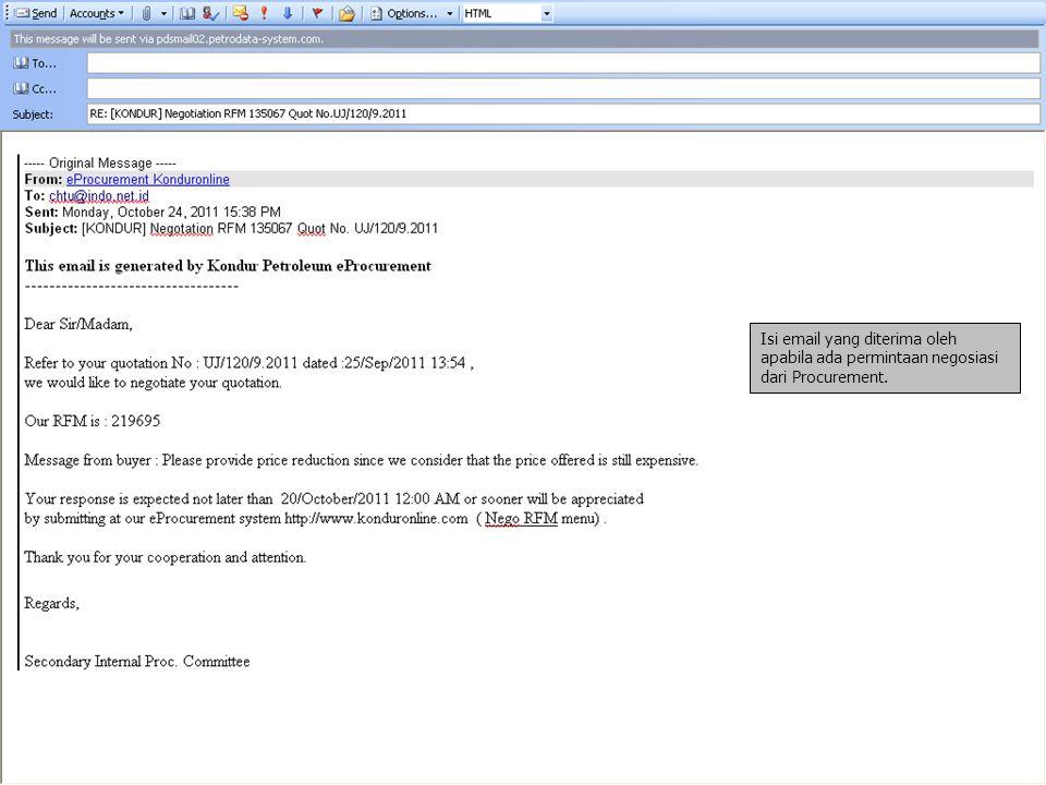 Isi email yang diterima oleh apabila ada permintaan negosiasi dari Procurement.