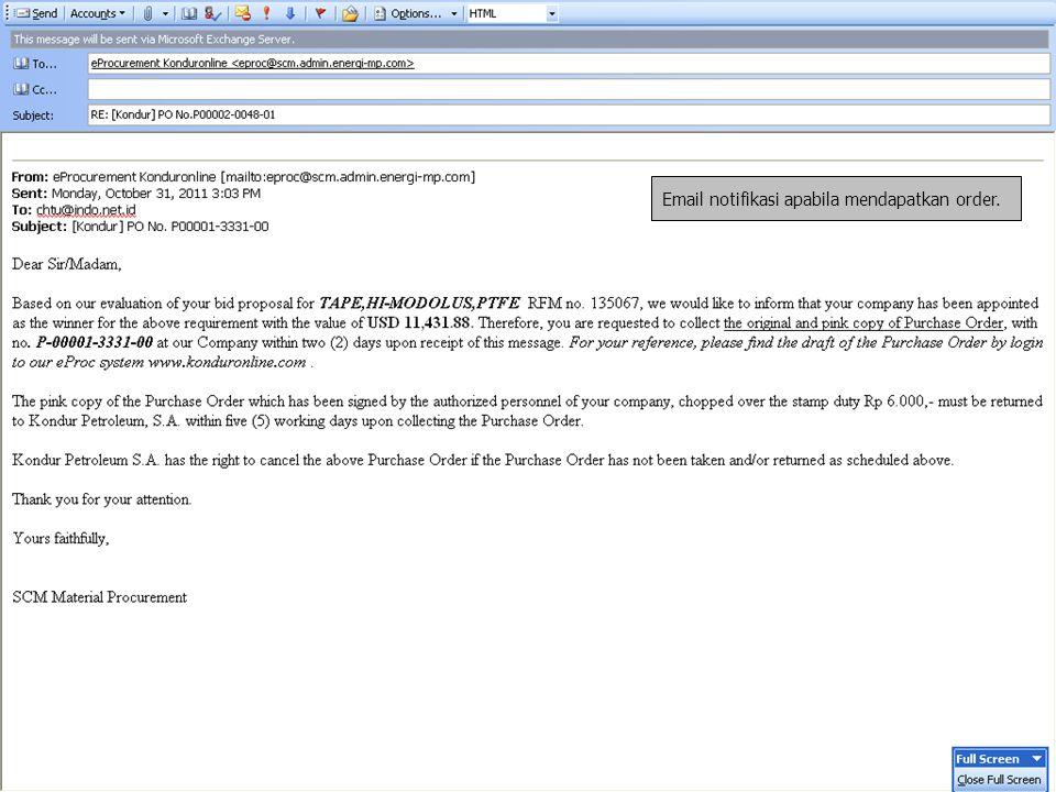 Email notifikasi apabila mendapatkan order.