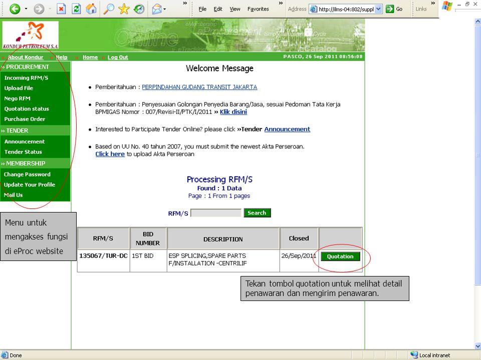 Kolom untuk merespons permintaan dari Buyer.Klik tombol Browse untuk melampirkan file.