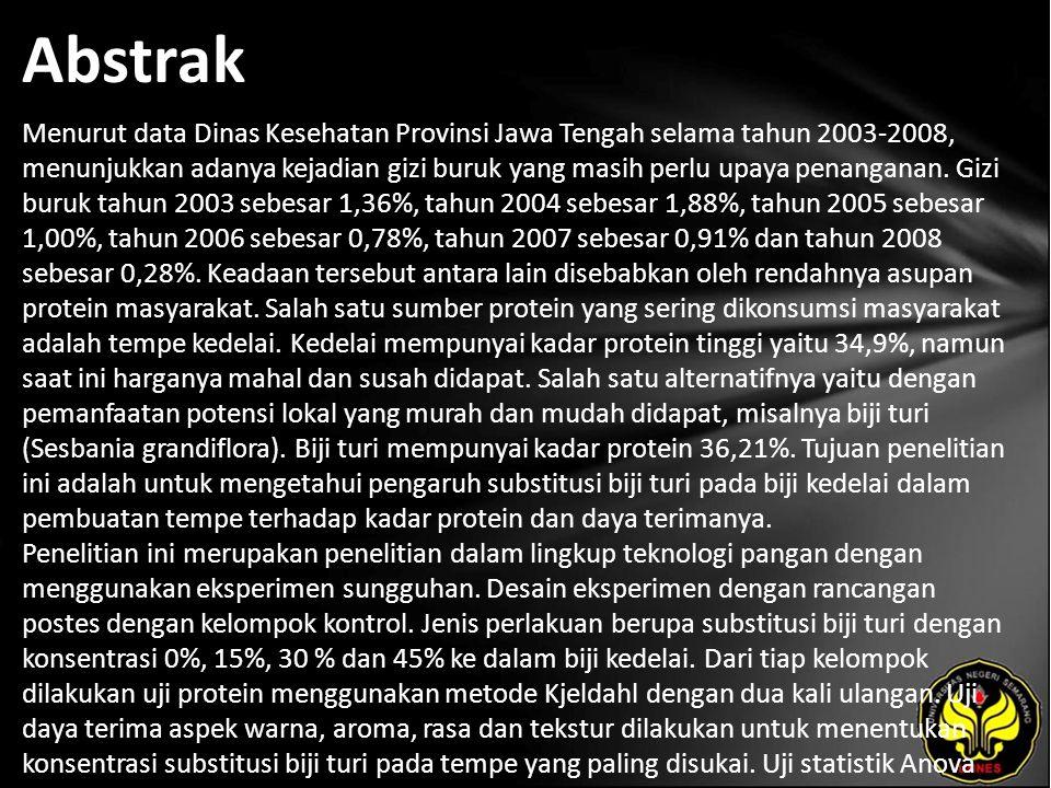 Abstrak Menurut data Dinas Kesehatan Provinsi Jawa Tengah selama tahun 2003-2008, menunjukkan adanya kejadian gizi buruk yang masih perlu upaya penang