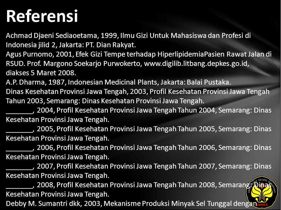 Referensi Achmad Djaeni Sediaoetama, 1999, Ilmu Gizi Untuk Mahasiswa dan Profesi di Indonesia jilid 2, Jakarta: PT. Dian Rakyat. Agus Purnomo, 2001, E