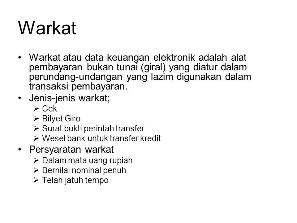 Peserta Bank umum dalam wilayah kliring dan tidak dihentikan kepesertaannya oleh bank Indonesia.