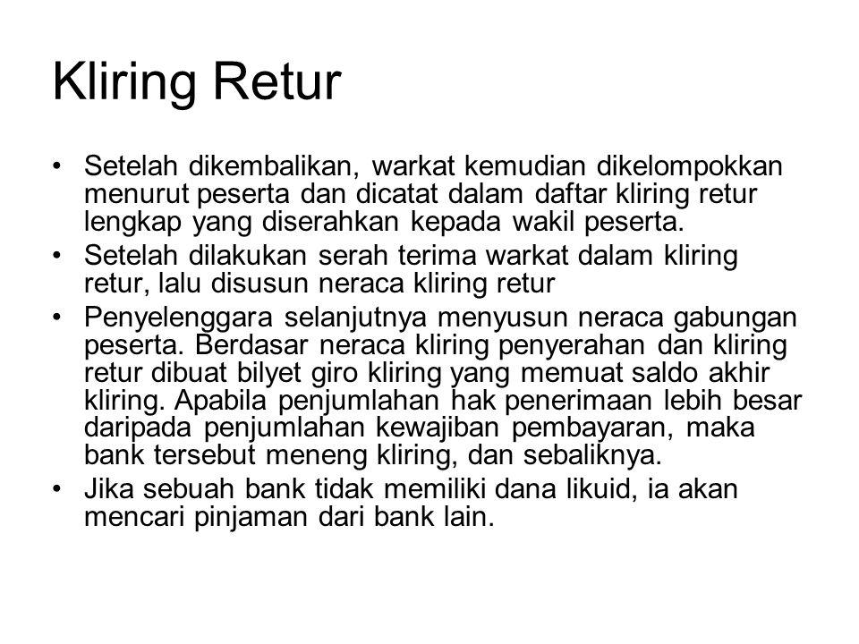 Alur Kliring Bank Umum Bank Umum penyelenggara 1.Penyerahan warkat 2.
