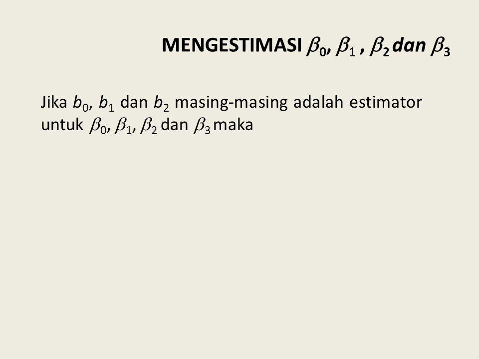 MENGESTIMASI  0,  1,  2 dan  3 Jika b 0, b 1 dan b 2 masing-masing adalah estimator untuk  0,  1,  2 dan  3 maka