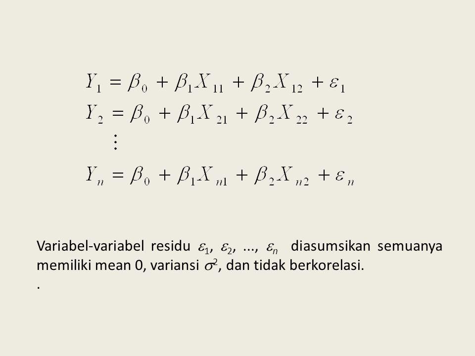 Statistik Uji Kriteria Pengujian terima Ho jika   t   > t  /2 dengan db = n-3 pada taraf signifikansi 