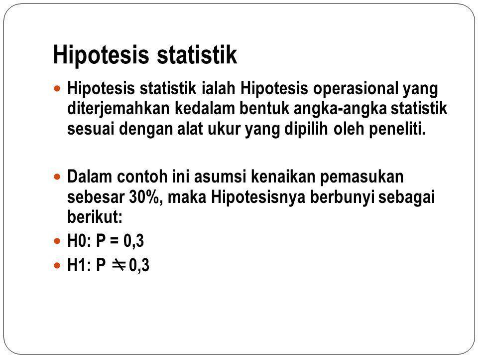Hipotesis statistik Hipotesis statistik ialah Hipotesis operasional yang diterjemahkan kedalam bentuk angka-angka statistik sesuai dengan alat ukur ya
