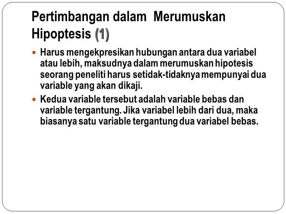 Pertimbangan dalam Merumuskan Hipoptesis (1) Harus mengekpresikan hubungan antara dua variabel atau lebih, maksudnya dalam merumuskan hipotesis seoran