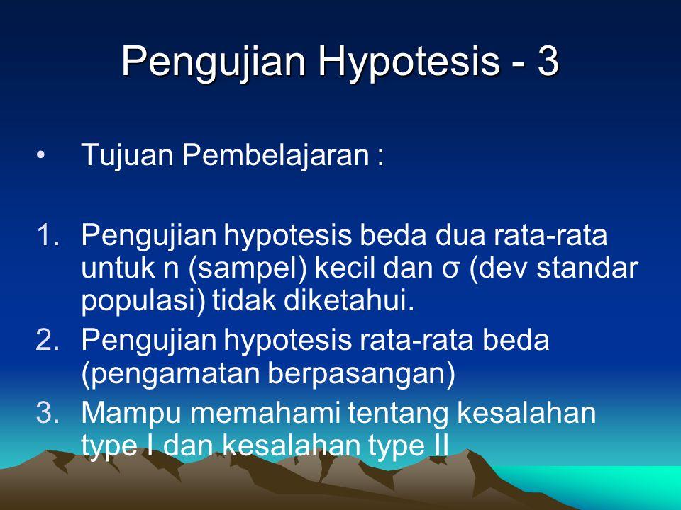 Pengujian Hypotesis - 3 Tujuan Pembelajaran : 1.Pengujian hypotesis beda dua rata-rata untuk n (sampel) kecil dan σ (dev standar populasi) tidak diket