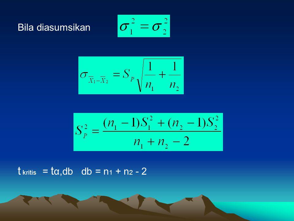 Bila diasumsikan t kritis = t α, db