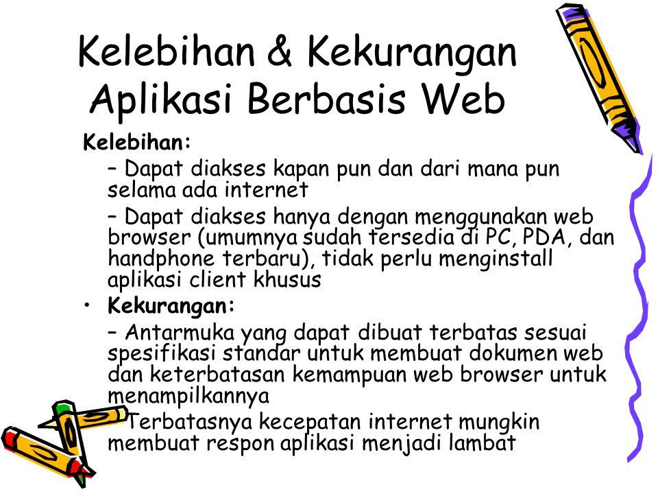 Yang perlu dipelajari untuk membuat aplikasi berbasis web Di sisi client: –Sintaks pembuatan dokumen web (HTML & CSS) – Client side scripting (JavaScript) (semua ini sudah dipelajari di mata kuliah IF1191 Pemrograman Web) Di sisi server – Mekanisme pemanggilan program dan pengambilan output program oleh web server (CGI) – Server side scripting (PHP, JSP, ASP, dll.