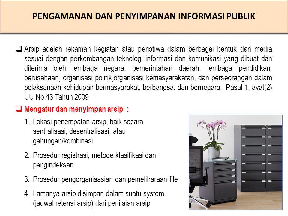 PENGAMANAN DAN PENYIMPANAN INFORMASI PUBLIK PENGAMANAN DAN PENYIMPANAN INFORMASI PUBLIK 1.Lokasi penempatan arsip, baik secara sentralisasi, desentralisasi, atau gabungan/kombinasi 2.Prosedur registrasi, metode klasifikasi dan pengindeksan 3.Prosedur pengorganisasian dan pemeliharaan file 4.Lamanya arsip disimpan dalam suatu system (jadwal retensi arsip) dari penilaian arsip  Arsip adalah rekaman kegiatan atau peristiwa dalam berbagai bentuk dan media sesuai dengan perkembangan teknologi informasi dan komunikasi yang dibuat dan diterima oleh lembaga negara, pemerintahan daerah, lembaga pendidikan, perusahaan, organisasi politik,organisasi kemasyarakatan, dan perseorangan dalam pelaksanaan kehidupan bermasyarakat, berbangsa, dan bernegara..