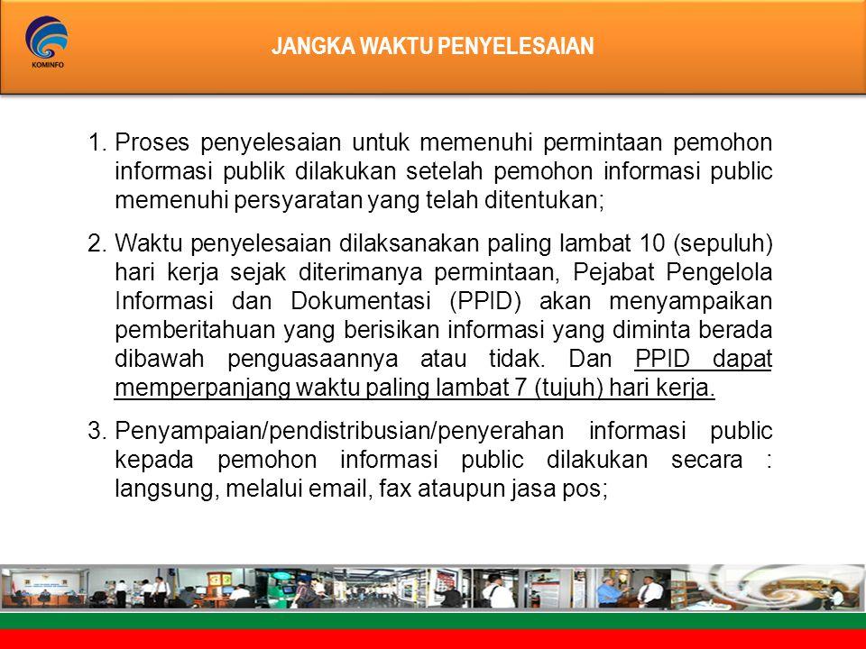 JANGKA WAKTU PENYELESAIAN JANGKA WAKTU PENYELESAIAN 1.Proses penyelesaian untuk memenuhi permintaan pemohon informasi publik dilakukan setelah pemohon