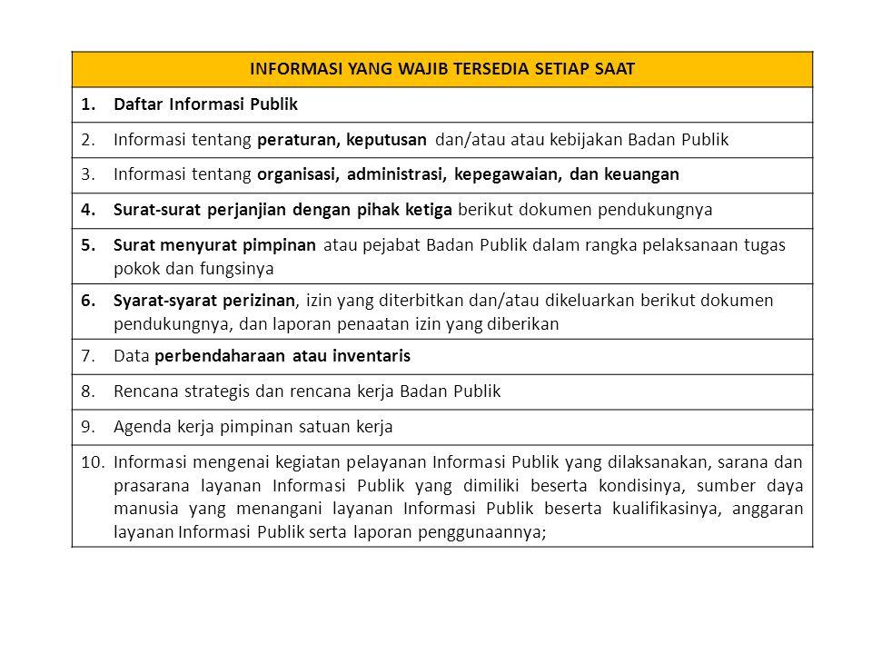 INFORMASI YANG WAJIB TERSEDIA SETIAP SAAT 1.Daftar Informasi Publik 2.Informasi tentang peraturan, keputusan dan/atau atau kebijakan Badan Publik 3.Informasi tentang organisasi, administrasi, kepegawaian, dan keuangan 4.Surat-surat perjanjian dengan pihak ketiga berikut dokumen pendukungnya 5.Surat menyurat pimpinan atau pejabat Badan Publik dalam rangka pelaksanaan tugas pokok dan fungsinya 6.Syarat-syarat perizinan, izin yang diterbitkan dan/atau dikeluarkan berikut dokumen pendukungnya, dan laporan penaatan izin yang diberikan 7.Data perbendaharaan atau inventaris 8.Rencana strategis dan rencana kerja Badan Publik 9.Agenda kerja pimpinan satuan kerja 10.Informasi mengenai kegiatan pelayanan Informasi Publik yang dilaksanakan, sarana dan prasarana layanan Informasi Publik yang dimiliki beserta kondisinya, sumber daya manusia yang menangani layanan Informasi Publik beserta kualifikasinya, anggaran layanan Informasi Publik serta laporan penggunaannya;