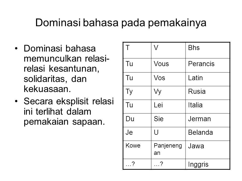 Dominasi bahasa pada pemakainya Dominasi bahasa memunculkan relasi- relasi kesantunan, solidaritas, dan kekuasaan.