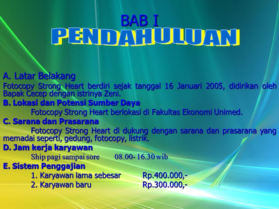 BAB I A. Latar Belakang Fotocopy Strong Heart berdiri sejak tanggal 16 Januari 2005, didirikan oleh Bapak Cecep dengan istrinya Zeni. B. Lokasi dan Po