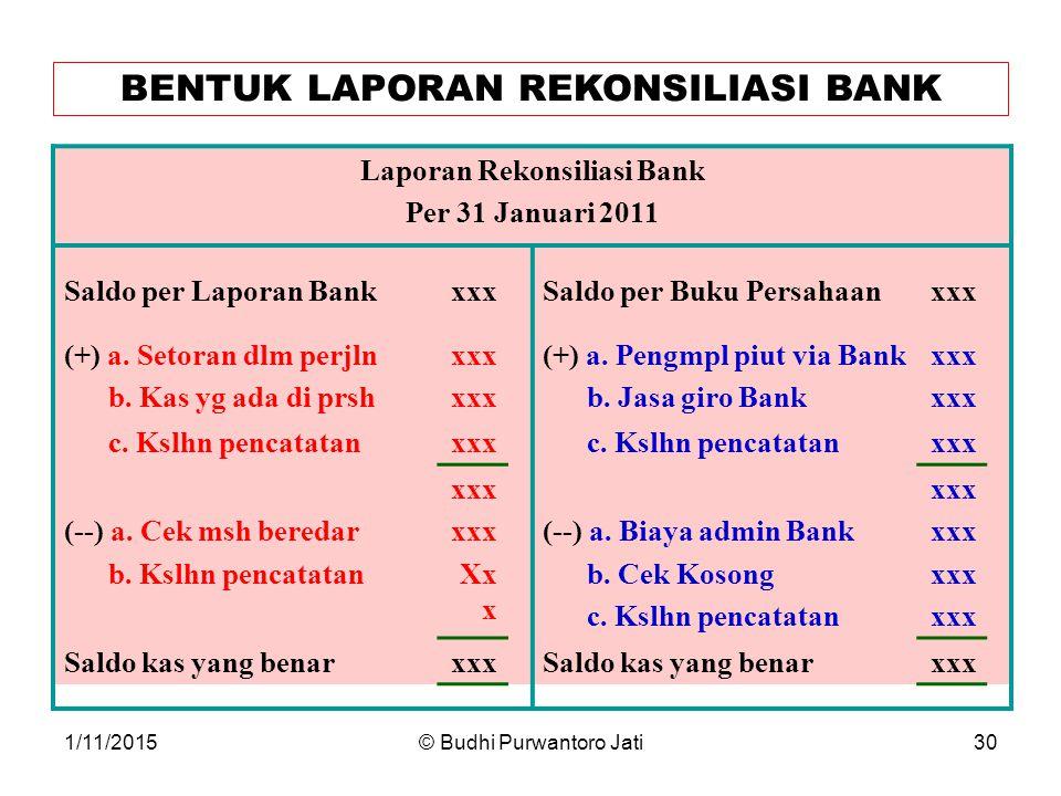 1/11/2015© Budhi Purwantoro Jati30 BENTUK LAPORAN REKONSILIASI BANK Laporan Rekonsiliasi Bank Per 31 Januari 2011 Saldo per Laporan Bank (+) a.