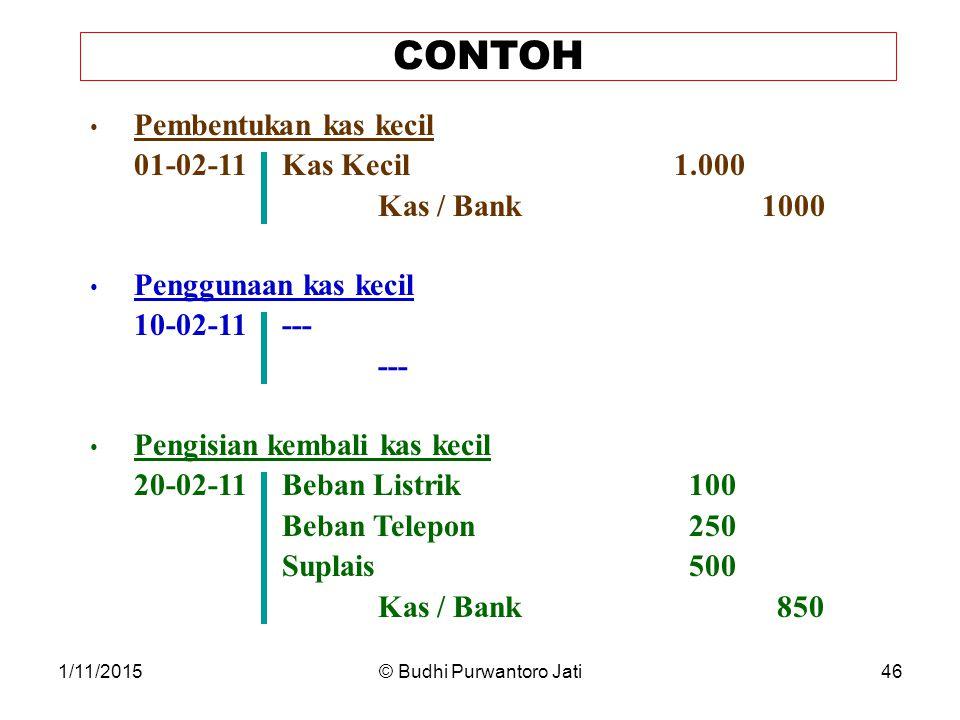 1/11/2015© Budhi Purwantoro Jati46 CONTOH Pembentukan kas kecil 01-02-11Kas Kecil 1.000 Kas / Bank1000 Penggunaan kas kecil 10-02-11--- --- Pengisian kembali kas kecil 20-02-11Beban Listrik 100 Beban Telepon 250 Suplais 500 Kas / Bank 850