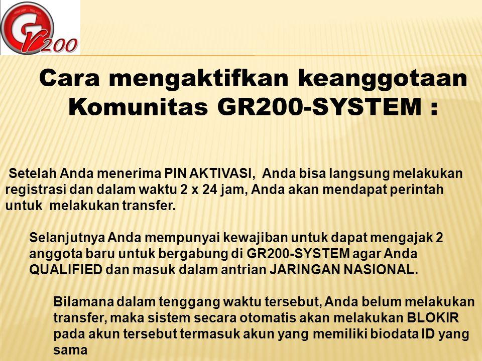 Cara mengaktifkan keanggotaan Komunitas GR200-SYSTEM : Setelah Anda menerima PIN AKTIVASI, Anda bisa langsung melakukan registrasi dan dalam waktu 2 x
