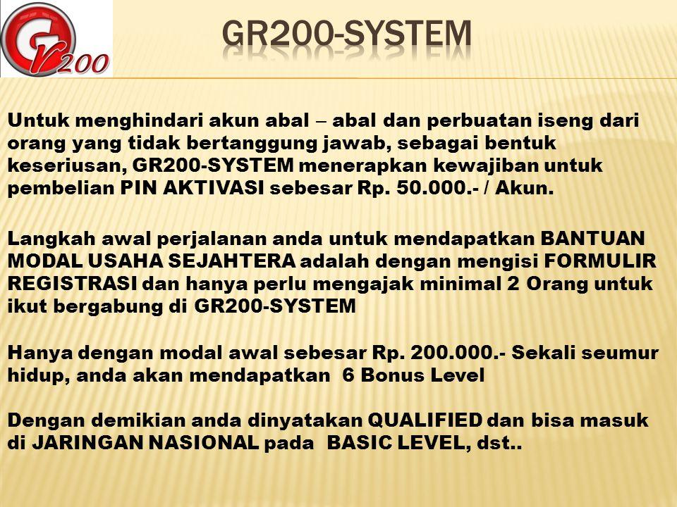 Untuk menghindari akun abal – abal dan perbuatan iseng dari orang yang tidak bertanggung jawab, sebagai bentuk keseriusan, GR200-SYSTEM menerapkan kew