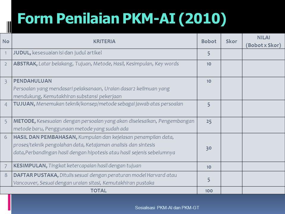 Form Penilaian PKM-AI (2010) Sosialisasi PKM-AI dan PKM-GT NoKRITERIABobotSkor NILAI (Bobot x Skor) 1JUDUL, kesesuaian isi dan judul artikel5 2ABSTRAK