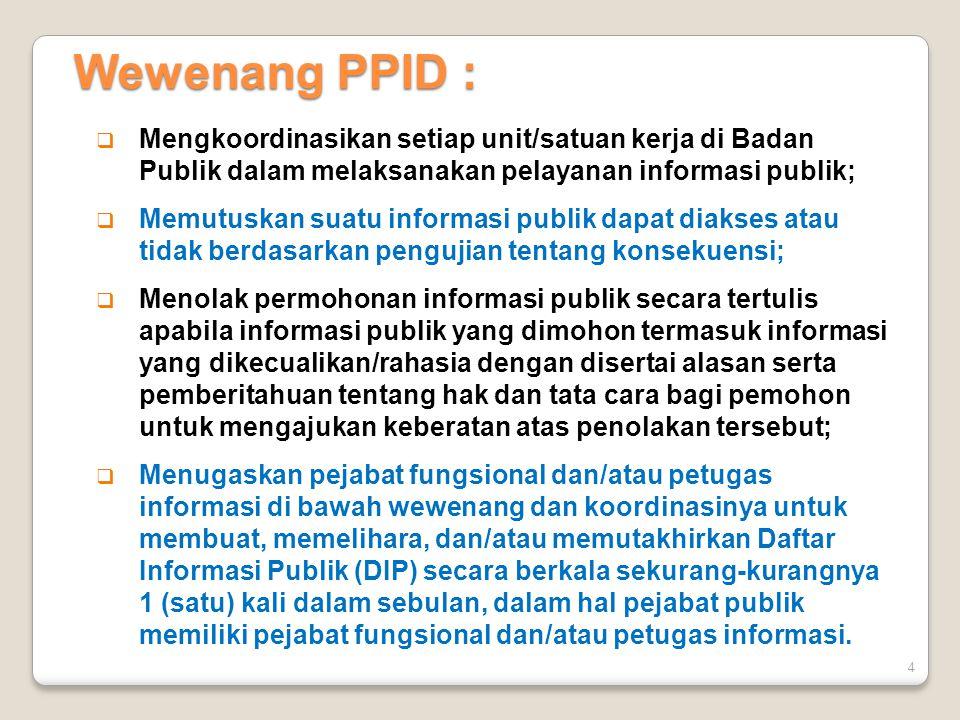 4  Mengkoordinasikan setiap unit/satuan kerja di Badan Publik dalam melaksanakan pelayanan informasi publik;  Memutuskan suatu informasi publik dapa
