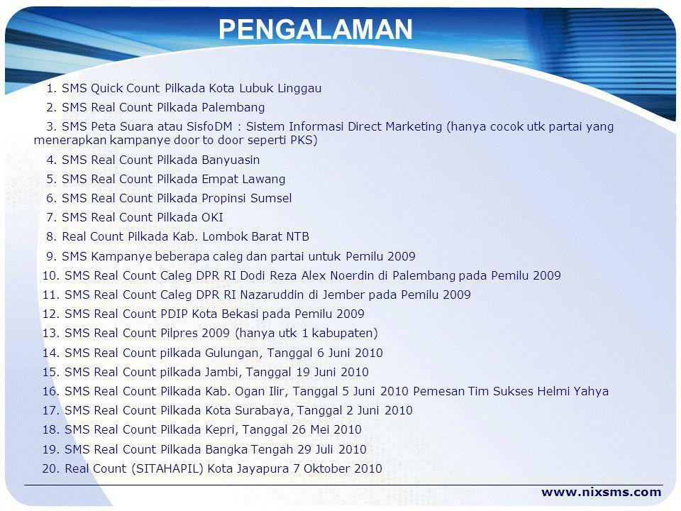 PENGALAMAN 1. SMS Quick Count Pilkada Kota Lubuk Linggau 2. SMS Real Count Pilkada Palembang 3. SMS Peta Suara atau SisfoDM : Sistem Informasi Direct