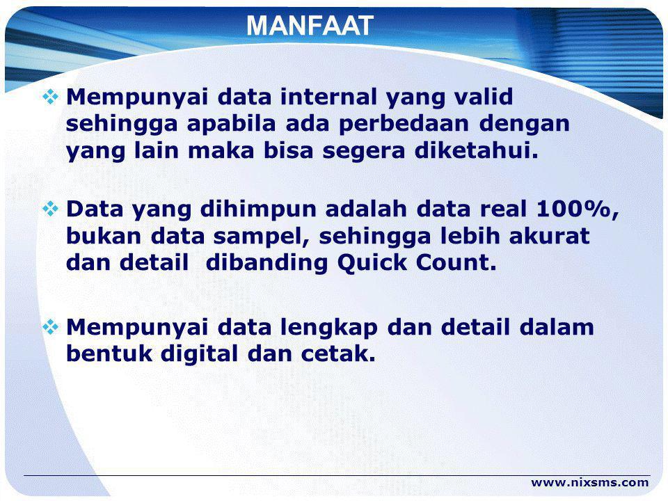 MANFAAT  Mempunyai data internal yang valid sehingga apabila ada perbedaan dengan yang lain maka bisa segera diketahui.