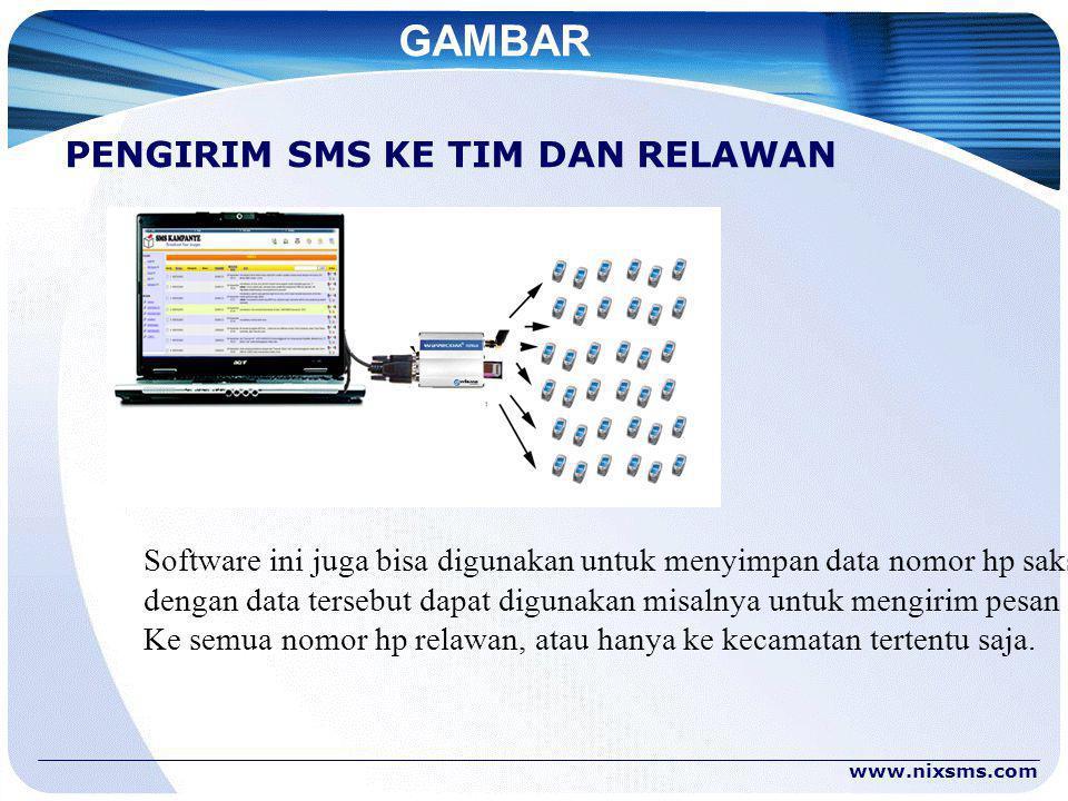 GAMBAR PENGIRIM SMS KE TIM DAN RELAWAN ` Software ini juga bisa digunakan untuk menyimpan data nomor hp saksi, dengan data tersebut dapat digunakan misalnya untuk mengirim pesan SMS Ke semua nomor hp relawan, atau hanya ke kecamatan tertentu saja.