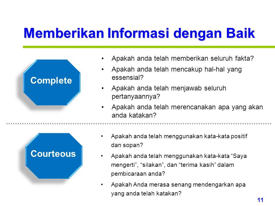 11 www.rajapresentasi.com Memberikan Informasi dengan Baik Courteous Complete Apakah anda telah memberikan seluruh fakta.