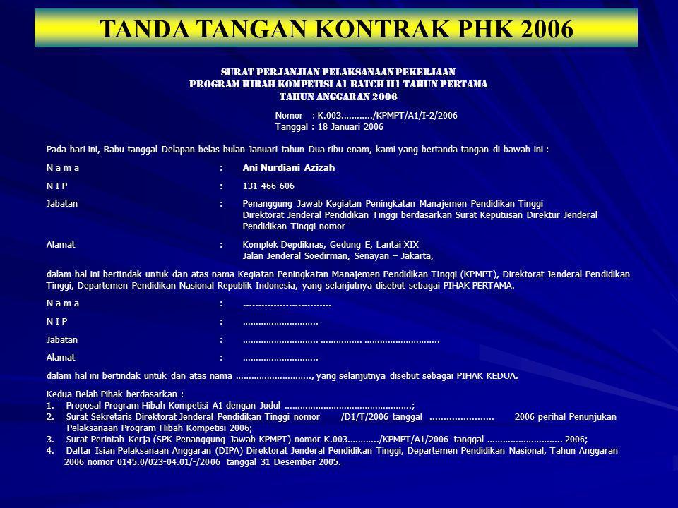 TANDA TANGAN KONTRAK PHK 2006 SURAT PERJANJIAN PELAKSANAAN PEKERJAAN PROGRAM HIBAH KOMPETISI A1 BATCH II1 TAHUN PERTAMA TAHUN ANGGARAN 2006 Nomor : K.