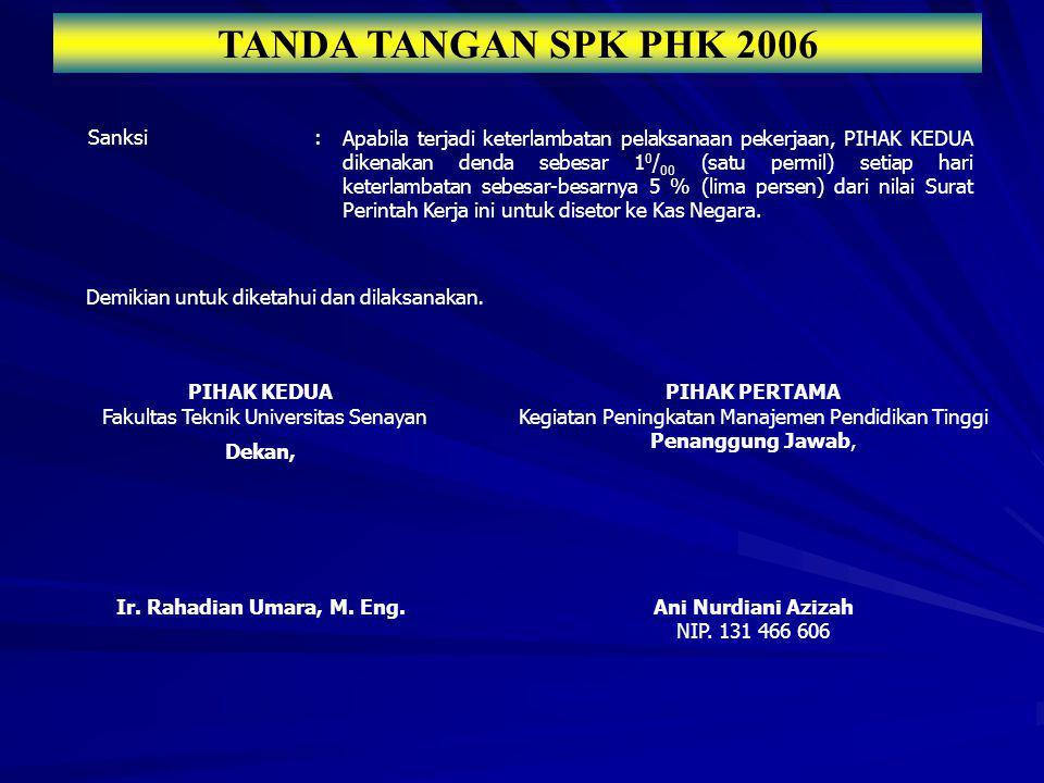 TANDA TANGAN SPK PHK 2006 Sanksi:Apabila terjadi keterlambatan pelaksanaan pekerjaan, PIHAK KEDUA dikenakan denda sebesar 1 0 / 00 (satu permil) setia