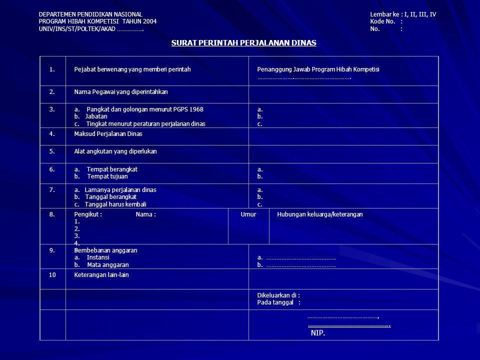 DEPARTEMEN PENDIDIKAN NASIONAL PROGRAM HIBAH KOMPETISI TAHUN 2004 UNIV/INS/ST/POLTEK/AKAD ……………. Lembar ke : I, II, III, IV Kode No. : No. : SURAT PER