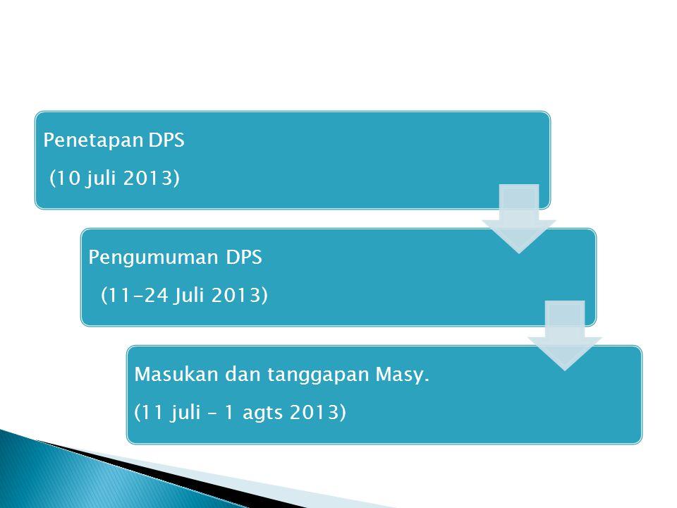 Penetapan DPS (10 juli 2013) Pengumuman DPS (11-24 Juli 2013) Masukan dan tanggapan Masy. (11 juli – 1 agts 2013)